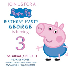 KIDS PEPPA PIG BIRTHDAY INVITE Template