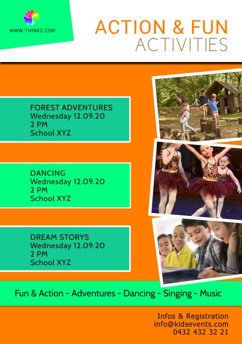 Kids Play Activities action fun sport Dance A4 template