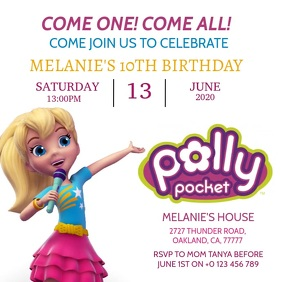 KIDS POLLY POCKET BIRTHDAY INVITE Template