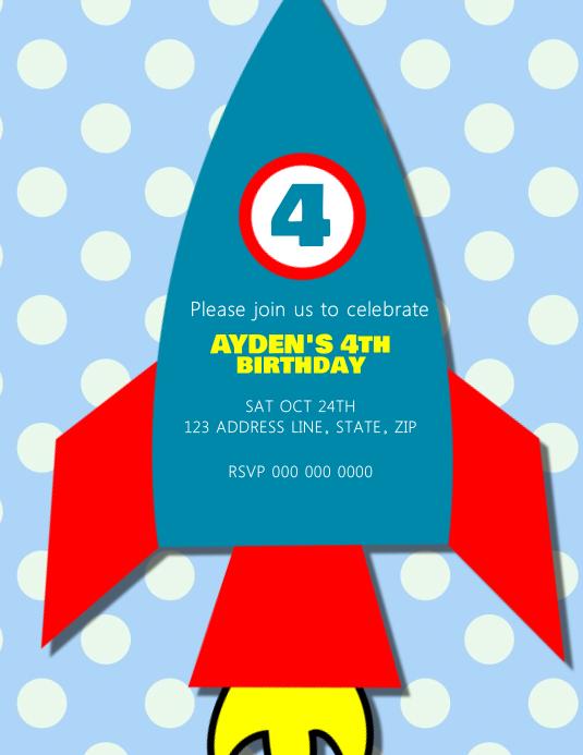 Spiksplinternieuw Sjabloon Kinderen Raket Verjaardagsfeestje Uitnodiging | PosterMyWall RL-64