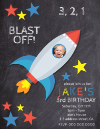 Kids Rocket Birthday Party Template