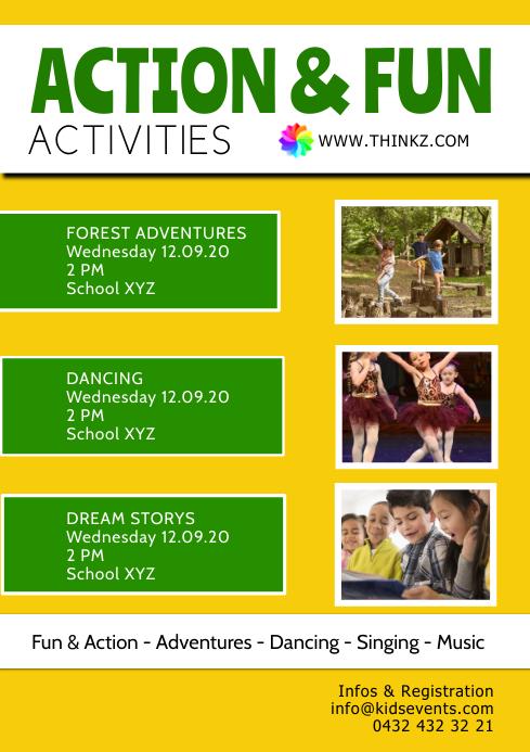 Kids School Activities action fun sport child A4 template