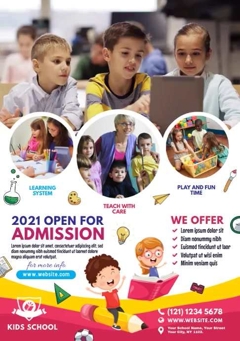 Kids School Admission Open A4 template