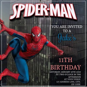 Kids Spiderman Birthday Invitation Template Message Instagram