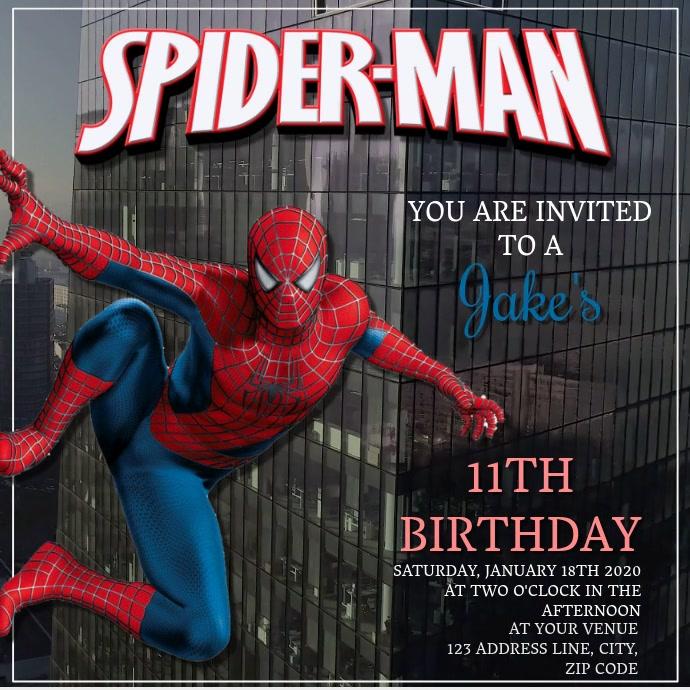Kids Spiderman Birthday Invitation Template Instagram Post
