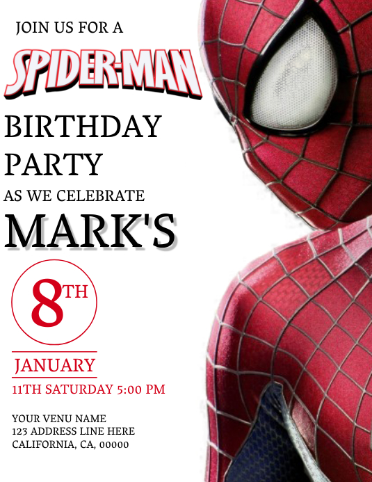 Kids Spiderman Birthday Invitation Template Flyer (US Letter)