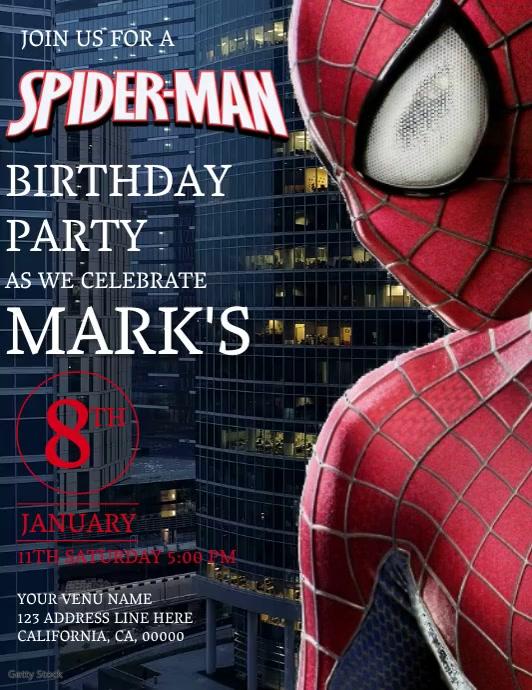 Kids Spiderman Birthday Invitation Template Flyer (US Letter)