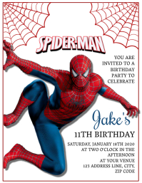 Kids Spiderman Birthday Invitation Template Pamflet (Letter AS)