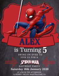 Kids Spiderman Birthday Invitation Template Folheto (US Letter)