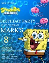 Kids Spongebob Birthday Invitation Template Pamflet (Letter AS)
