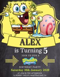 Kids Spongebob Birthday Invitation Template