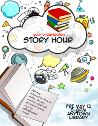 kids story time book reading flyer