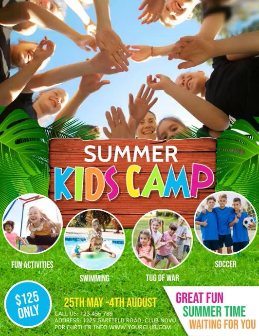 kids summer camp, summer camp, holidays Flyer (US-Letter) template