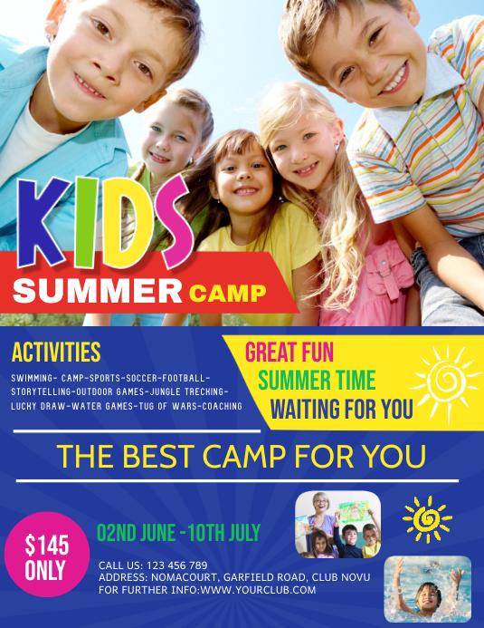 kids summer camp, summer camp, holidays Pamflet (Letter AS) template