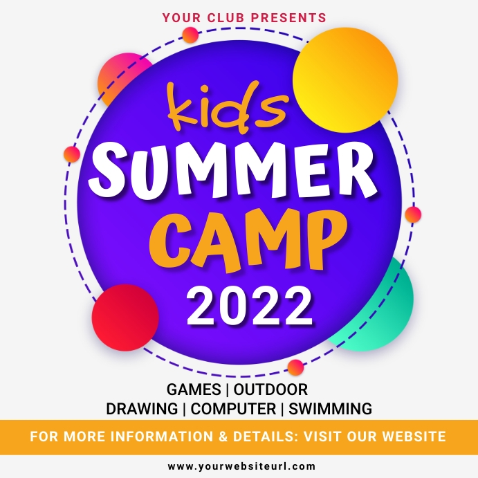Kids summer camp,scouts,back to school Instagram Post template