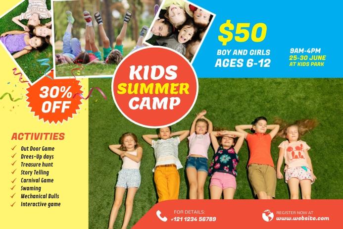 Kids Summer Camp banner Design template