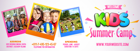 Kids Summer Camp Banner Ikhava Yesithombe se-Facebook template