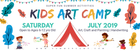 Kids Summer Camp Banner Template Ikhava Yesithombe se-Facebook