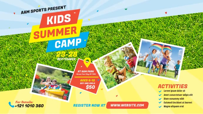 Kids Summer Camp Twitter Post template