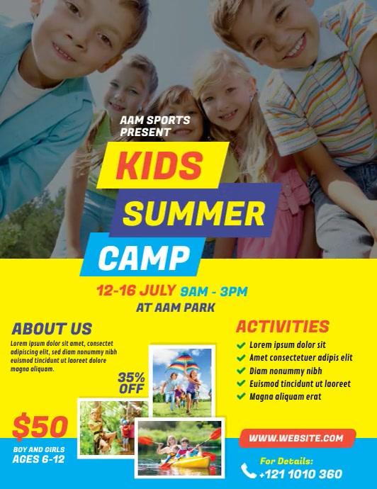 Kids Summer Camp Flyer (Letter pang-US) template