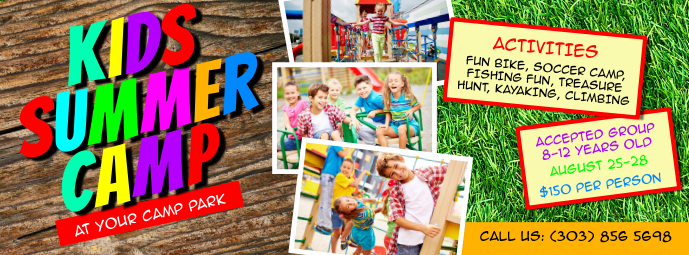 Kids Summer Camp Facebook Cover template