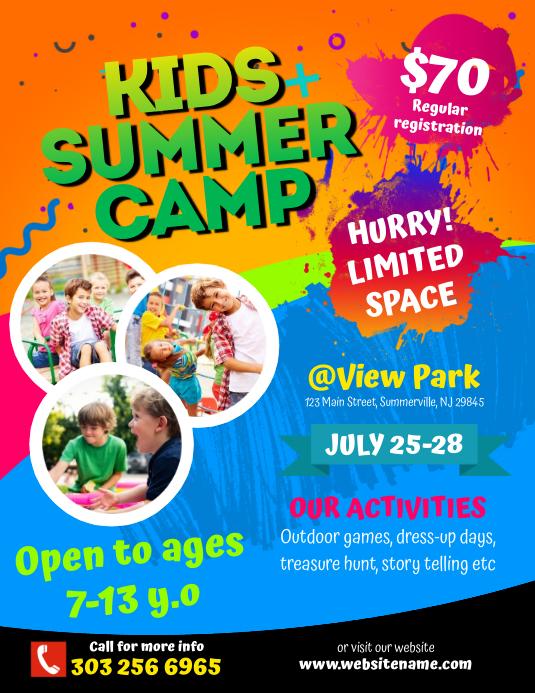 Kids Summer Camp Flyer Volante (Carta US) template