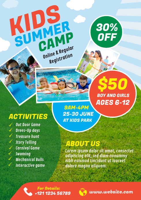 Kids Summer Camp Flyer A4 template