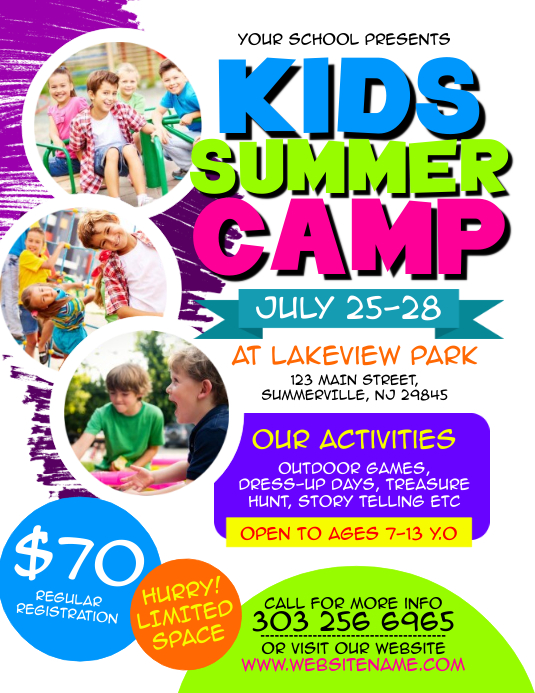 Kids Summer Camp Flyer Pamflet (Letter AS) template