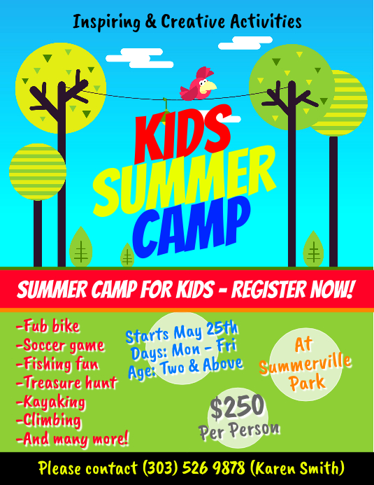 Kids Summer Camp Flyer Template  Postermywall