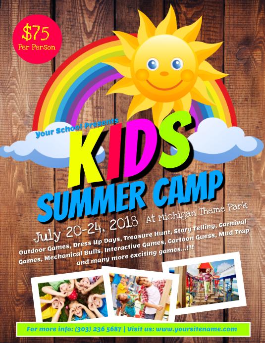 kids summer camp flyer template postermywall. Black Bedroom Furniture Sets. Home Design Ideas