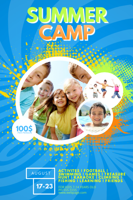 Kids Summer Camp Flyer Template Poster