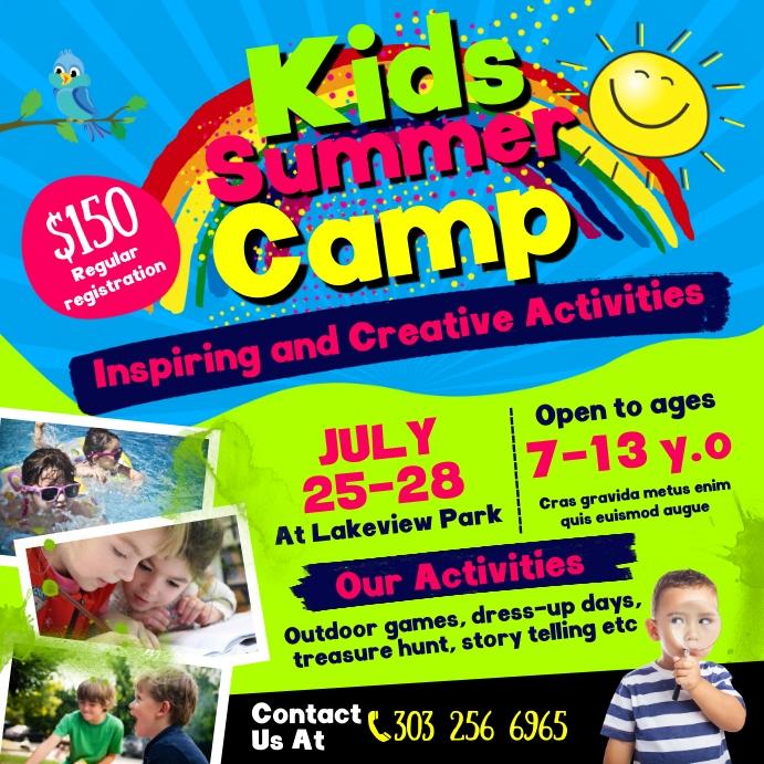 Kids Summer Camp Instagram Post Wpis na Instagrama template
