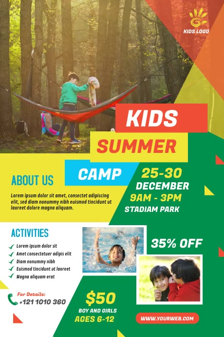 Kids summer camp Poster 海报 template