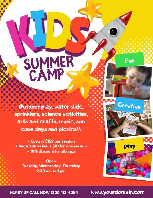 Kids Summer Camp Poster Flyer Template