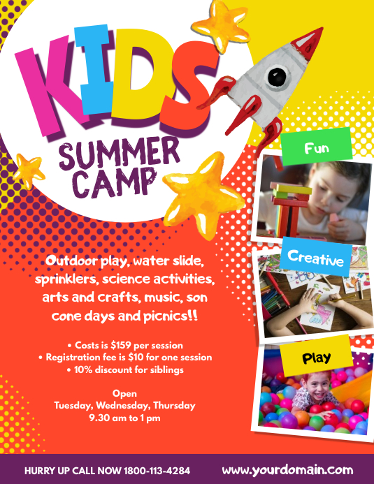 Kids Summer Camp Poster Flyer Template