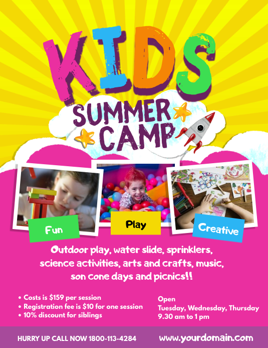 Kids Summer Camp Poster Flyer Template Pamflet (Letter AS)