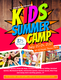 Kids Summer Camp Flyer Template Løbeseddel (US Letter)
