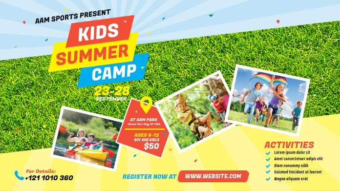 Kids Summer Camp Twitter Post Twitter-Beitrag template