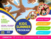 kids summer camp video, summer camp, holidays Volante (Carta US) template