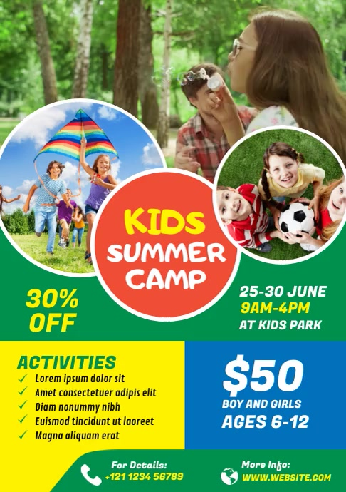 Kids Summer Camp Video Flyer A4 template