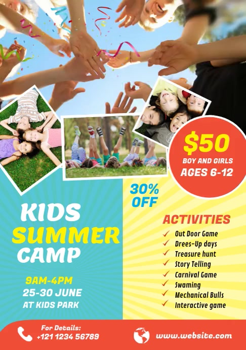 Kids Summer Camp Video Flyer A4 template