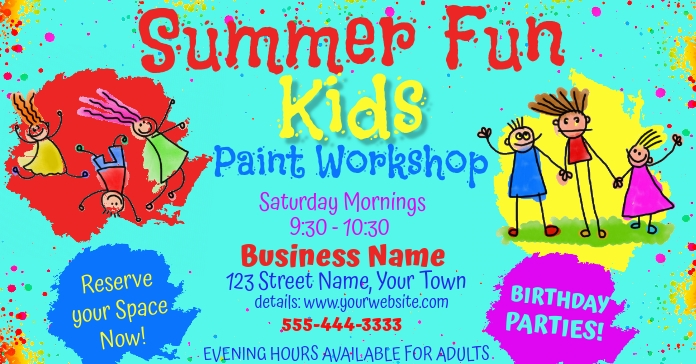 Kids Summer Event Facebook Advertising Size template