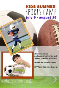 kids summer sports camp flyer template