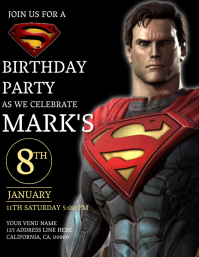 Kids Superman Birthday Invitation Template