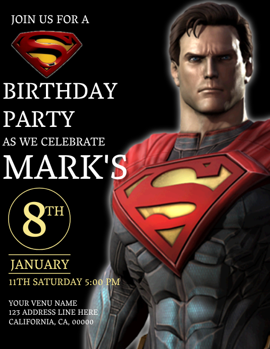 Kids Superman Birthday Invitation Template Pamflet (Letter AS)