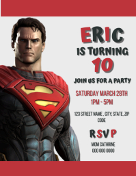 Kids Superman Birthday Party Invite Template