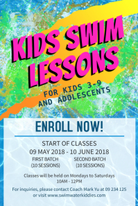 Kids Swim Lessons Flyer Template Poster