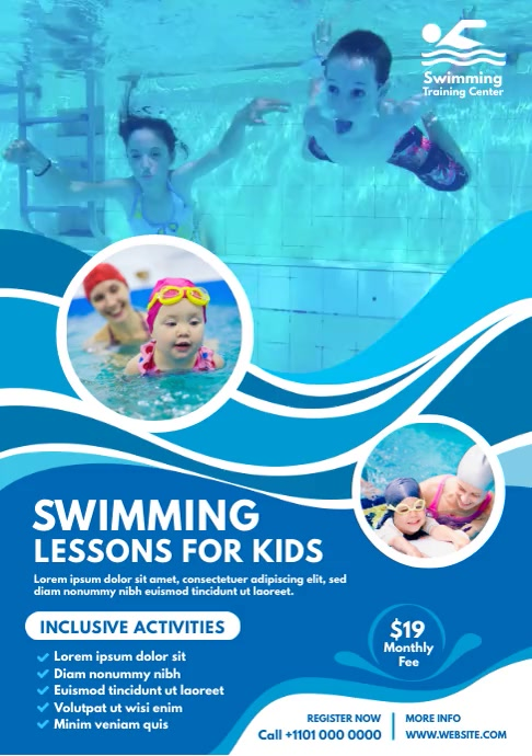 Kids Swimming Lessons Flyer A4 template