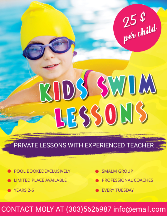 kids swimming lessons flyer template postermywall