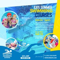 Kids Swimming Lessons Video Ad Square (1:1) template